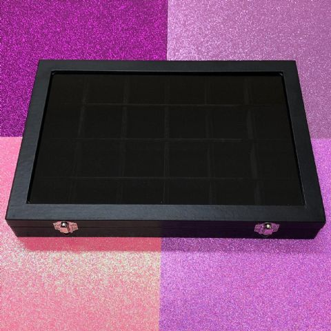 24 Grid Black Velvet Display Case/Organiser for Crystals